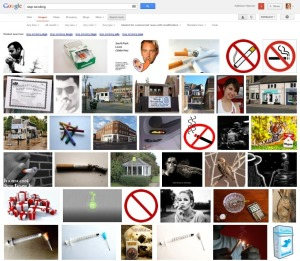 "Results of the same search for ""stop smoking"" restricted to images that can be used, shared, or modified (even commercially)"
