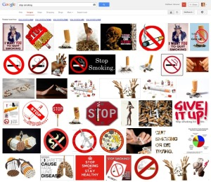 "Results of an unfiltered Google Images search for ""stop smoking"""