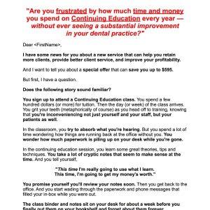 Kathleen Hanover Copywriting Sample - Dental Consulting Sales Letter