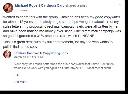 Copywriter Kathleen Hanover endorsed by professional speaker Michael Carducci